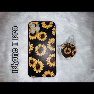 Sunflower IPhone 11 Pro case with pop socket
